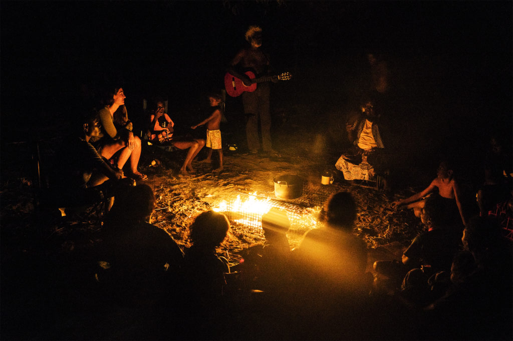Group around campfire